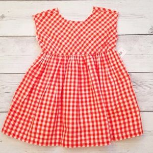 Baby Orange And White Gingham Dress - 0-3 Months